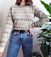 Cream geometric patterned vintage jumper - S/M