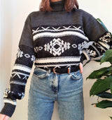 Grey Nordic patterned turtle neck jumper - M/L