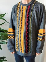Colourful 80s oversized vintage jumper - XL