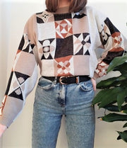 Beige vintage funky jumper with checked orange and brown design - L