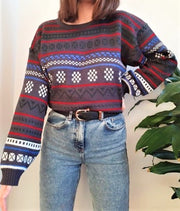 80s style striped patterned vintage jumper - M