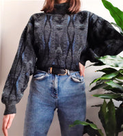 Dark grey turtle neck patterned vintage jumper - M