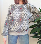 Light grey 90s vintage jumper with diamond geometric pattern - M