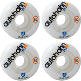 Autobahn Wheel Company Dual Durometer Ultra White / Clear Skateboard Wheels - 53mm 97a (Set of 4)