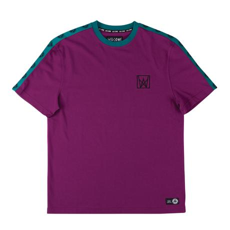Welcome Chalice Taped Short Sleeve Knit - Purple/Teal/Black