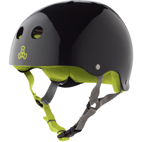 Triple Eight Sweatsaver Skateboard Helmet Black Gloss/Green