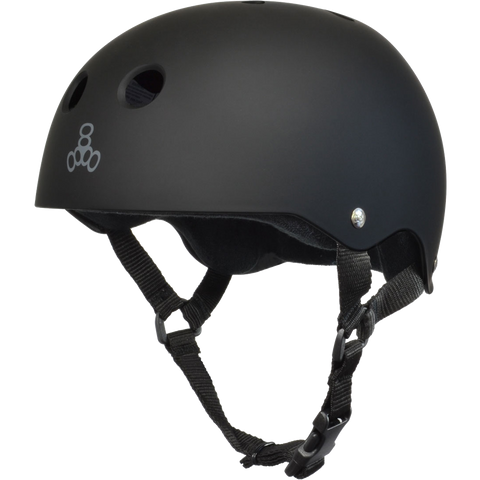 Triple Eight Sweatsaver Skateboard Helmet Black Rubber/Black