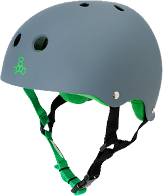 Triple Eight Sweatsaver Skateboard Helmet Gray Rubber/Green