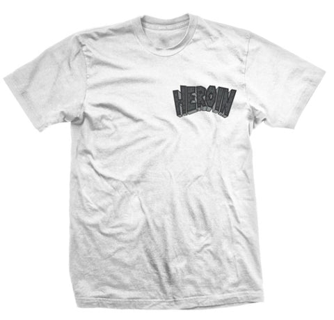 Heroin Skateboards Curb Crusher King White Tee