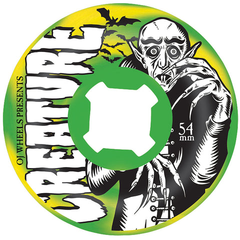 OJ Thee Vampire Swirls Bloodsuckers 97a Skateboard Wheels - Green/Yellow Swirl