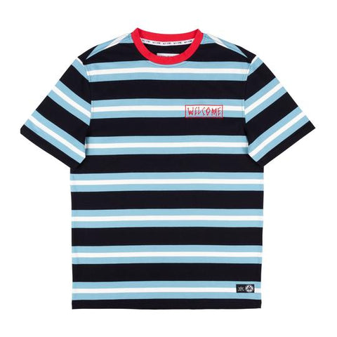 Welcome Medius Stripe Yarn-Dyed Short Sleeve Knit - Black/Blue