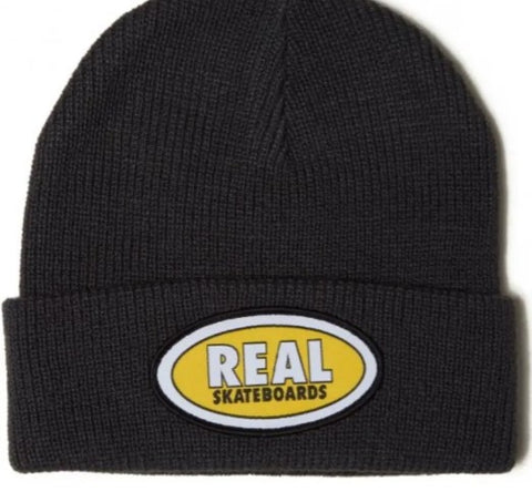 REAL OVAL EMBLEM CUFF BEANIE DARK GREY