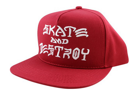 THRASHER SKATE AND DESTROY SNAPBACK RED