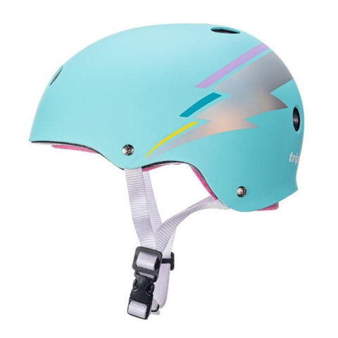 TRIPLE 8 CERTIFIED SWEATSAVER TEAL HOLOGRAM LIGHTNING BOLT HELMET