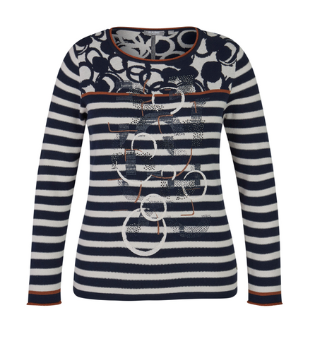 Pull marine/off white met roest