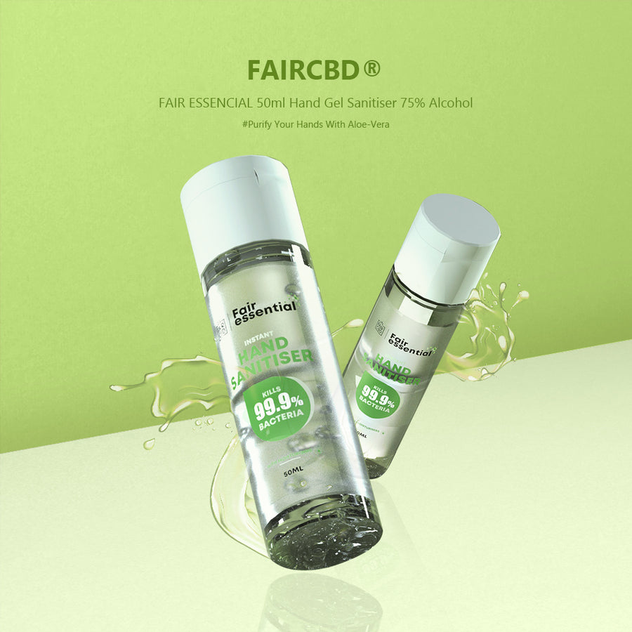 FAIRCBD® FAIR ESSENCIAL 50ml Hand Gel Sanitiser 75% Alcohol