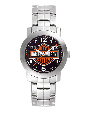 Men's Silver Bar & Shield Link Watch