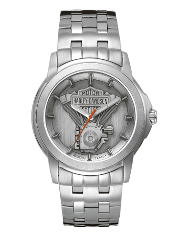 Men's Silver Engine Watch