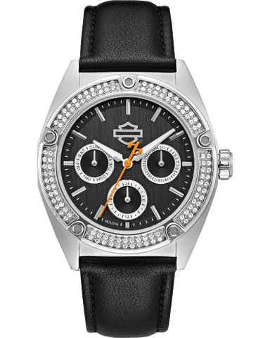 Black Crystal Faced Watch