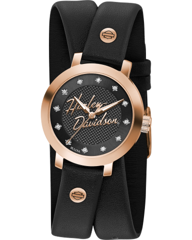Double Black Strap Watch