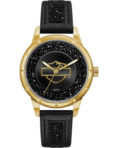 Gold & Black Embellished Watch