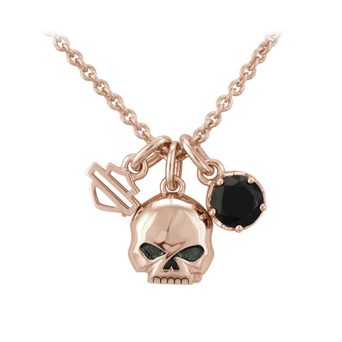 Rose Gold Skull & Stone Charm Necklace