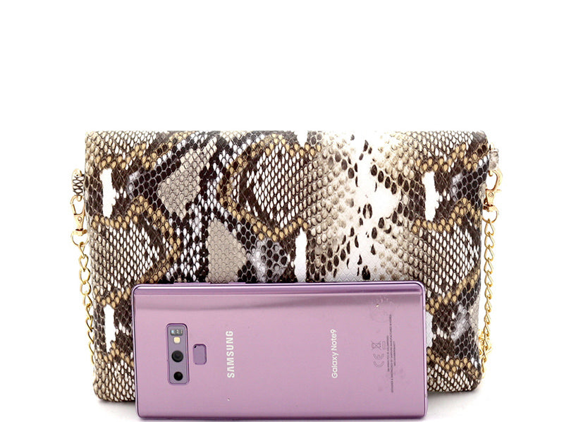 Snakeskin Flap Clutch