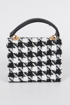 Houndstooth Tweed Crossbody