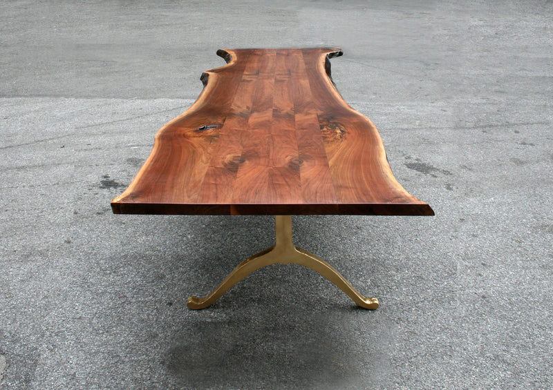 Signature Live Edge Table with Brass Wishbone legs Table sentientfurniture