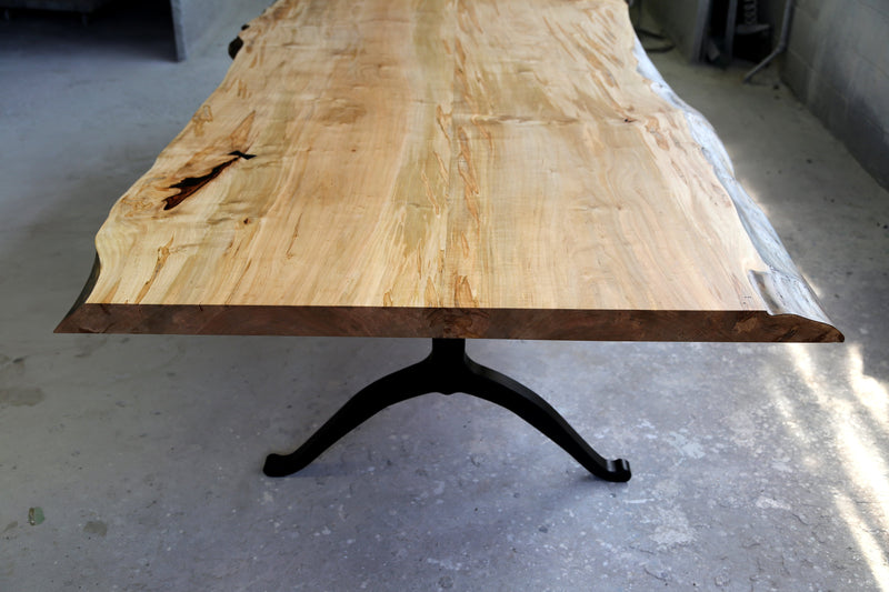Signature Live Edge Table with Blackened Wishbone legs Table sentientfurniture
