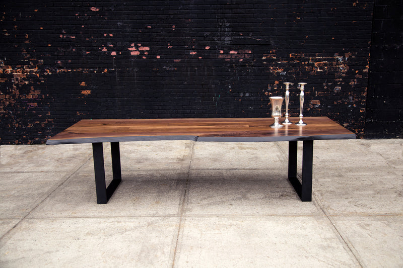 Signature Live Edge Table with Blackened Steel Frame Legs Table sentientfurniture