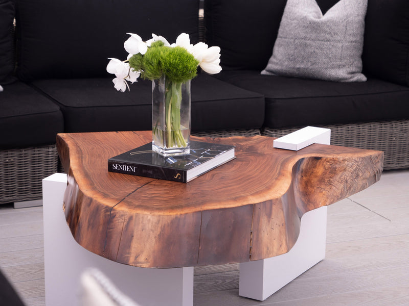 Live Edge Coffee Table with White Base Coffee Table sentientfurniture