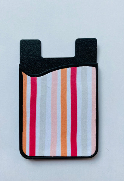 pink and orange stripe card holder phone credit card