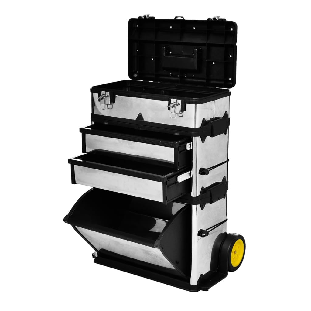VidaXL 3-Part Rolling Tool Box with 2 Wheels