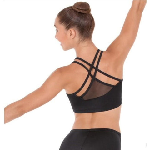 59891 Eurotard Womens Strappy Sports Bra Black with Mesh back Detail
