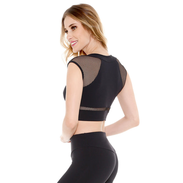 So Danca D1699 - Child Fishnet Cap Sleeve Crop Top (Black or White)