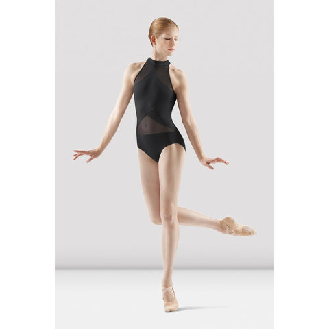 Irina and Max Black Halter Leotard with Mesh panels