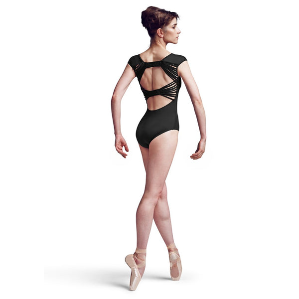MJ7178 Black Cap Sleeve with Bow Back Mirella Jozette Leotard Back Detail