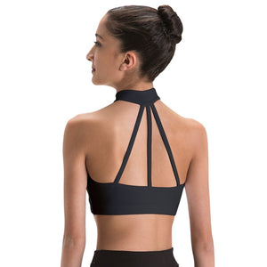 Motionwear Zip Front Crop Top with 3 straps in back style 3045 Black Silskin 497