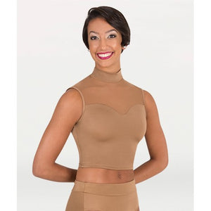 NL9010 - Mock Neck Sweetheart Crop Top (Nude)