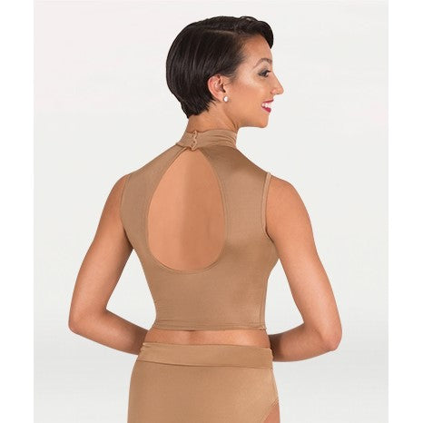 NL9010 - Mock Neck Open Back Sweetheart Crop Top (Nude)
