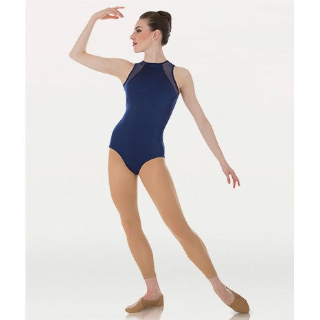 P1006 Ladies Body Wrappers Tiler Peck Premiere Collection Mesh Leotard with Slit Back
