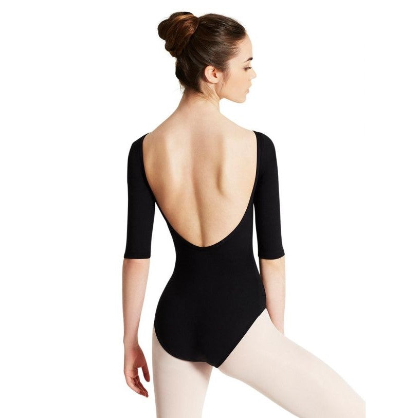 Capezio Boatneck 3/4 sleeve leotard black TB423W