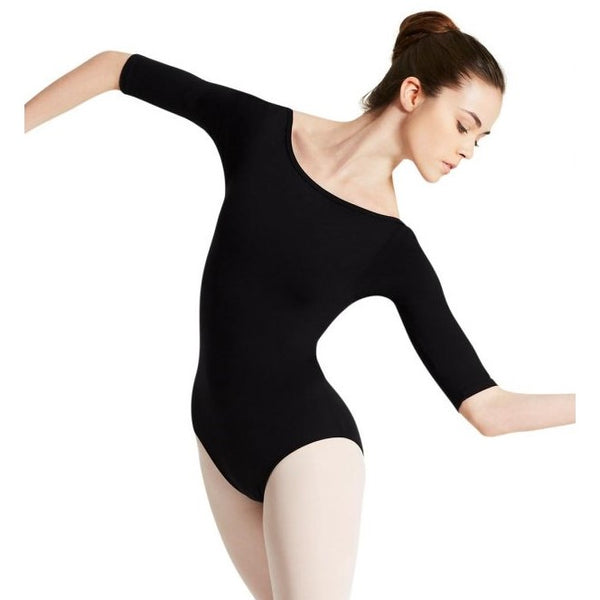 Capezio Boat neck 3/4 sleeve leotard black TB423W