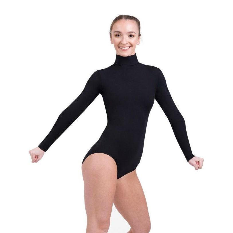 TB41 Black Capezio Turtle Neck Long Sleeve Leotard