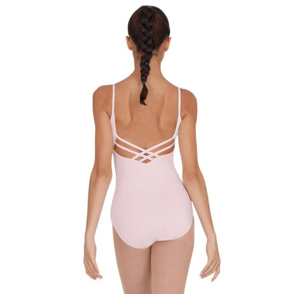 Pink capezio strappy back camisole leotard in cotton