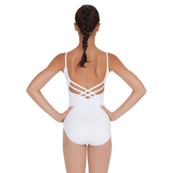 White capezio strappy back camisole leotard in cotton