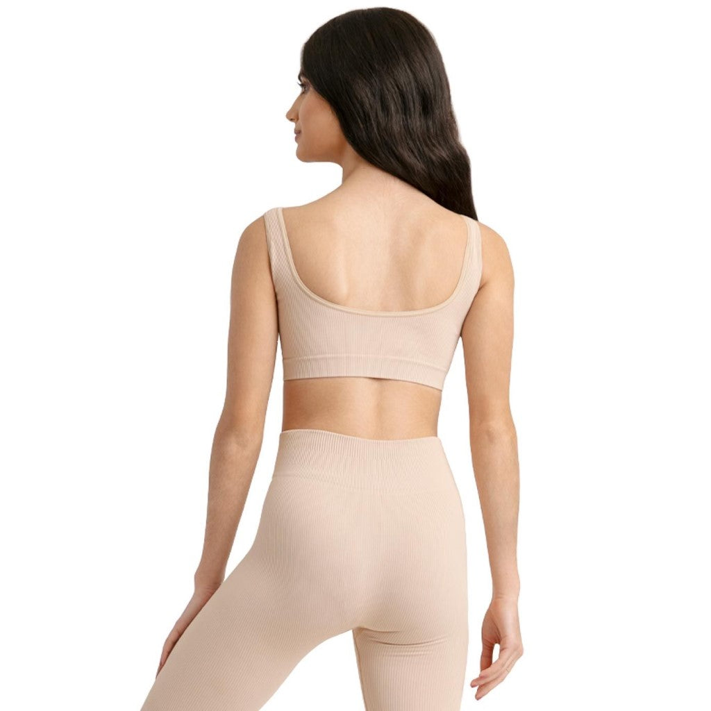 11378W Seamless Ribbed Top by Capezio Nude