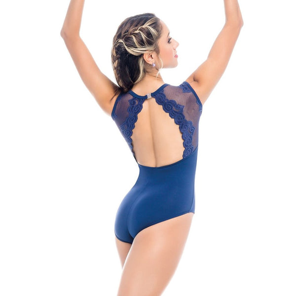 RDE1962 Navy Mesh Lace Leotard by So danca Back