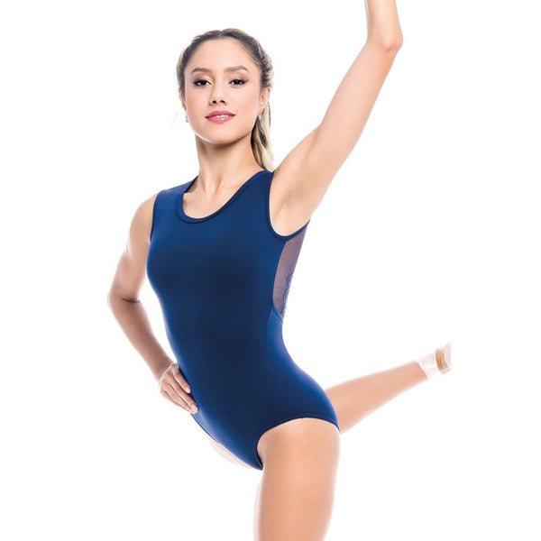 RDE1962 Navy Mesh Lace Leotard by So danca Front